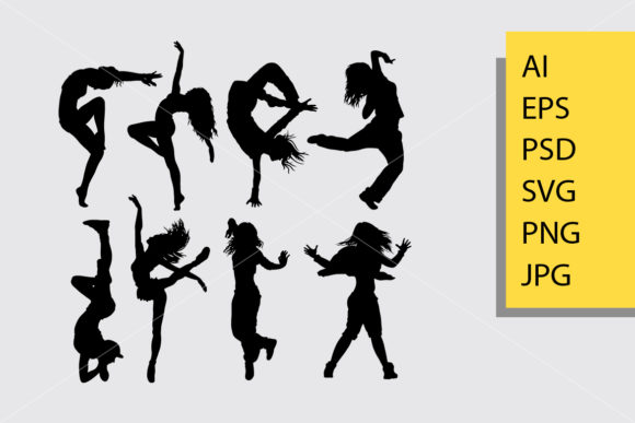 Cool Dancing 3 Silhouette Graphic Illustrations By Cove703