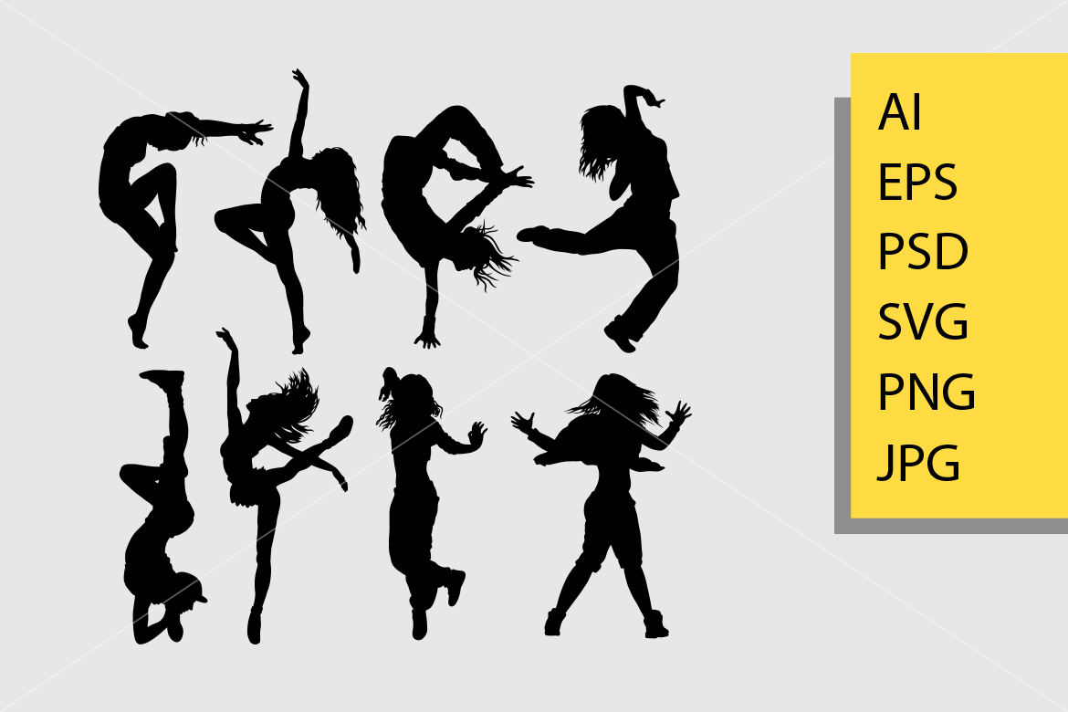 Download Free Cool Dancing 3 Silhouette Graphic By Cove703 Creative Fabrica for Cricut Explore, Silhouette and other cutting machines.