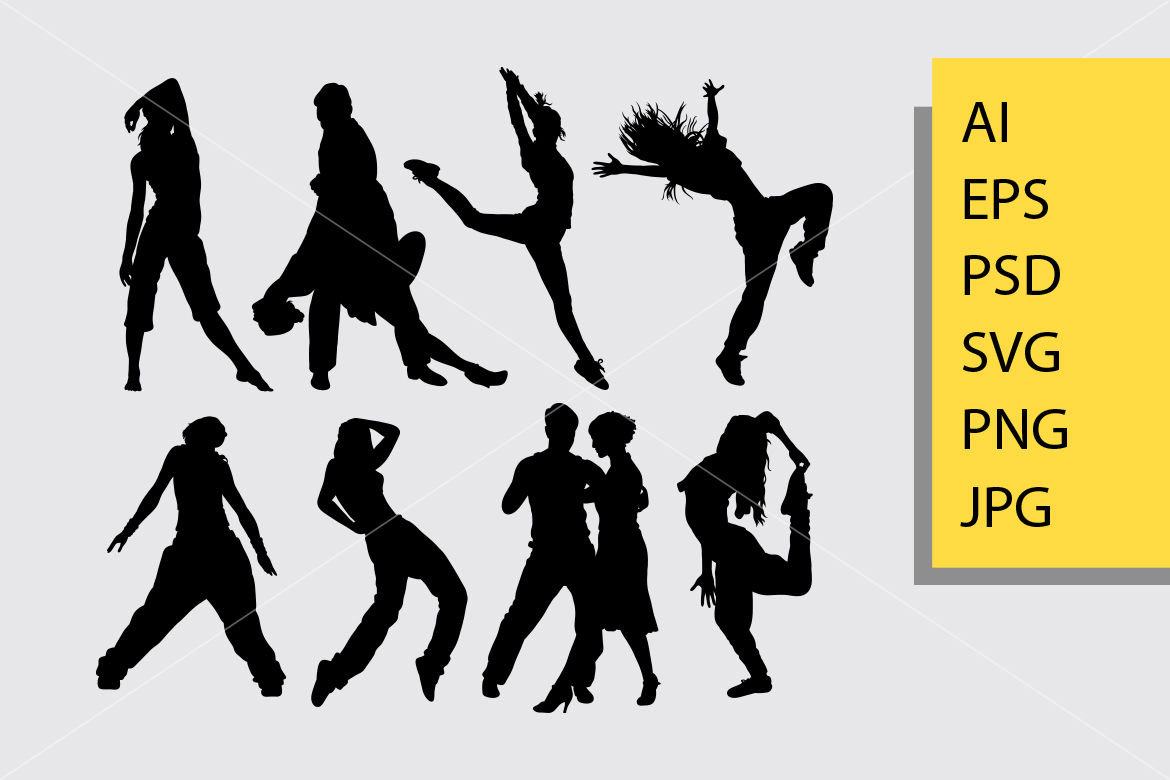 Download Free Cool Dancing 4 Silhouette Graphic By Cove703 Creative Fabrica for Cricut Explore, Silhouette and other cutting machines.