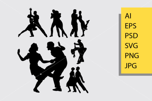 Tango and Salsa 1 Silhouette Graphic By Cove703