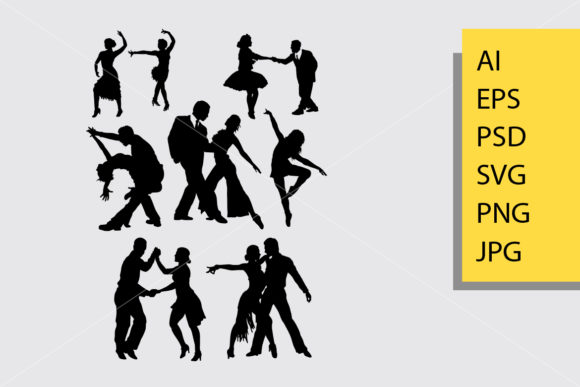 Tango and Salsa 2 Silhouette Graphic By Cove703