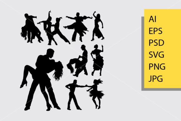 Tango and Salsa 3 Silhouette Graphic By Cove703