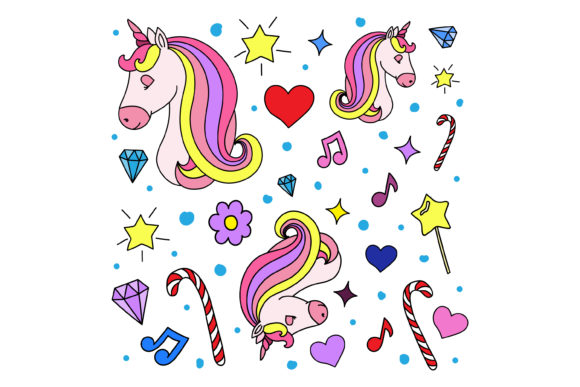 Print on Demand: Unicorn Doodle Graphic Crafts By sabavector