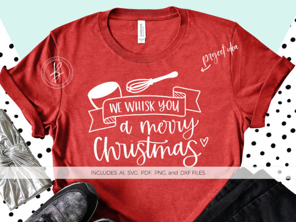 Download Free We Whisk You A Merry Christmas Baking Quote Graphic By for Cricut Explore, Silhouette and other cutting machines.
