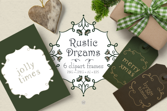 Print on Demand: Rustic Dreams Christmas Frames Graphic Illustrations By Wallifyer