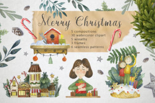 Merry Christmas Watercolor Set Grafik von By Anna Sokol