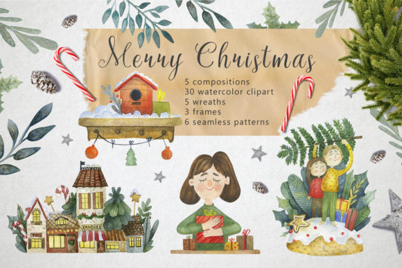 Merry Christmas Watercolor Set Graphic By By Anna Sokol