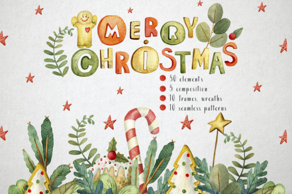 Sweet Christmas Watercolor Set Grafik von By Anna Sokol