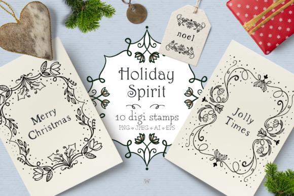 Print on Demand: Holiday Spirit Digital Stamps Graphic Illustrations By Wallifyer - Image 1