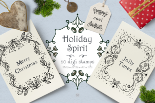 Holiday Spirit Digital Stamps Graphic By Wallifyer