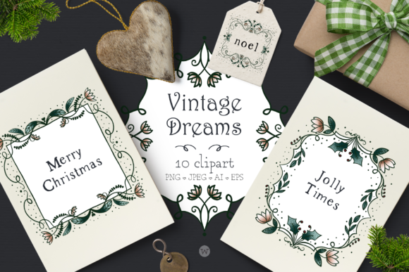 Print on Demand: Vintage Dreams Christmas Clipart Graphic Illustrations By Wallifyer - Image 1