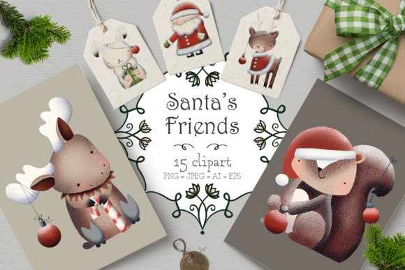Print on Demand: Santa's Friends Christmas Clipart Graphic Illustrations By Wallifyer - Image 1