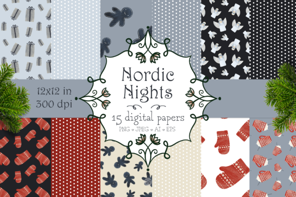 Print on Demand: Nordic Nights Christmas Patterns Graphic Patterns By Wallifyer - Image 1