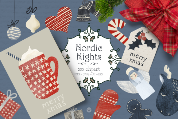 Print on Demand: Nordic Nights Christmas Clipart Graphic Illustrations By Wallifyer - Image 1