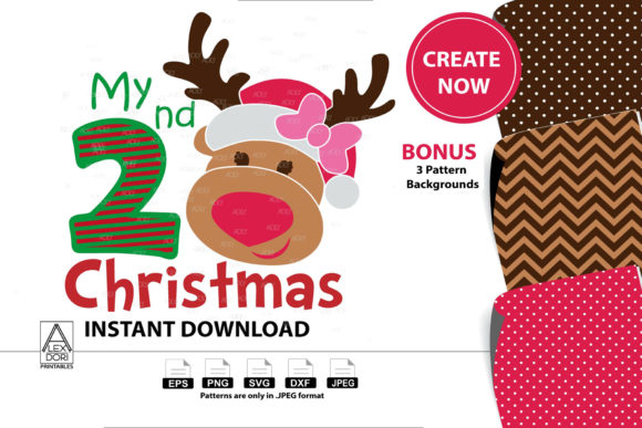 Print on Demand: My 2nd Christmas Girl Reindeer Graphic Illustrations By adlydigital - Image 1