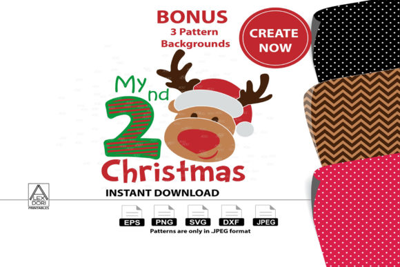 Print on Demand: Cute 2nd Christmas Reindeer Boy Clipart Graphic Illustrations By adlydigital - Image 1