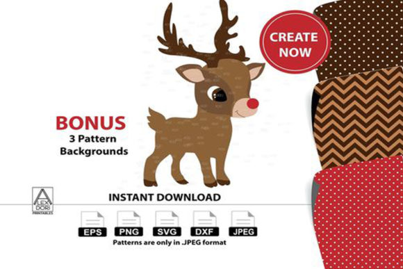 Print on Demand: Cute Boy Reindeer Digital Clipart Graphic Illustrations By adlydigital