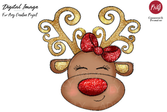 Print on Demand: Reindeer Sublimation Christmas Clip Art Graphic Illustrations By adlydigital