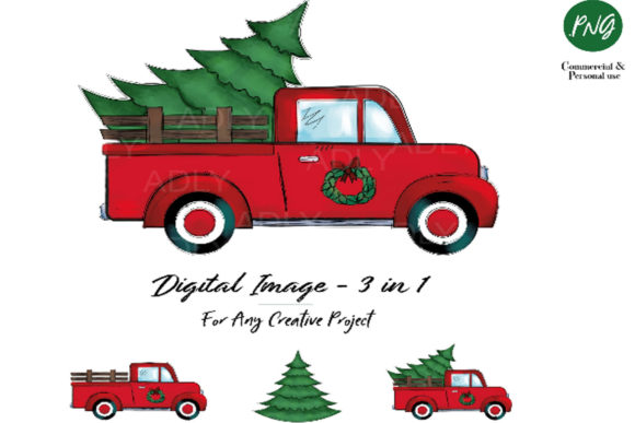Print on Demand: Christmas Sublimation Red Truck Graphic Illustrations By adlydigital - Image 1