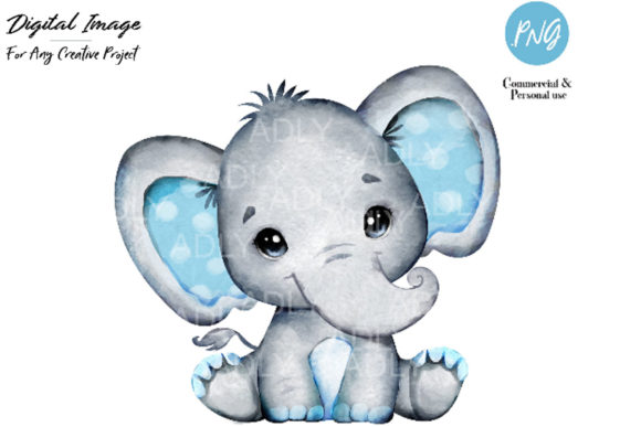 Print on Demand: Watercolor Boy Elephant Clip Art Graphic Illustrations By adlydigital
