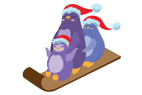 Download Free Penguins Wearings Santa Hat In Toboggan Svg Cut File By Creative for Cricut Explore, Silhouette and other cutting machines.