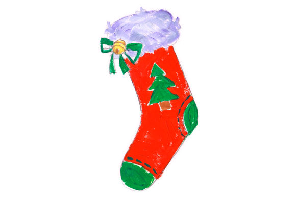 Christmas Stocking with Tree in Gouache Style Christmas Craft Cut File By Creative Fabrica Crafts