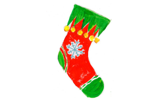 Download Free Christmas Stocking With Snowflake In Gouache Style Svg Cut File SVG Cut Files