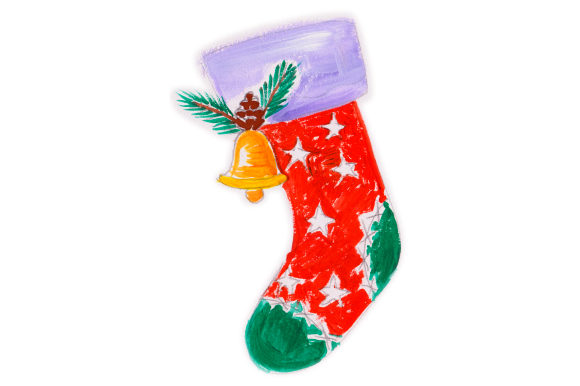 Download Free Christmas Stocking With Bell In Gouache Style Svg Cut File By for Cricut Explore, Silhouette and other cutting machines.