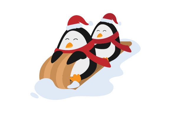 Penguins Wearing Santa Hat in Toboggan Navidad Craft Cut File Por Creative Fabrica Crafts