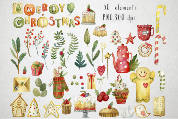 Print on Demand: Sweet Christmas Watercolor Set Graphic Illustrations By By Anna Sokol - Image 2