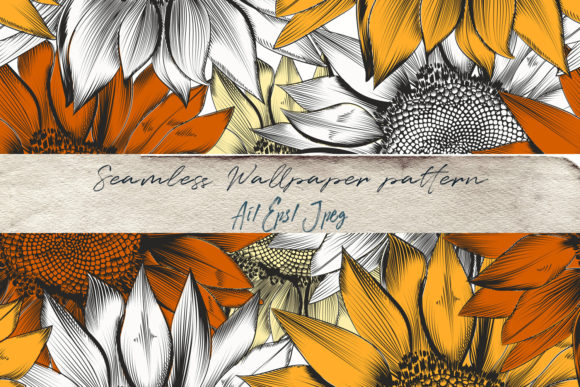 Beautiful Vector Pattern with Sunflowers Graphic Patterns By fleurartmariia