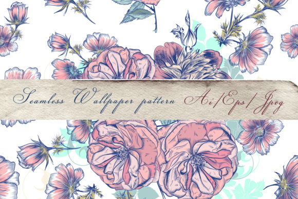 Vector Pattern Drawn Roses and Cosmos Graphic Patterns By fleurartmariia