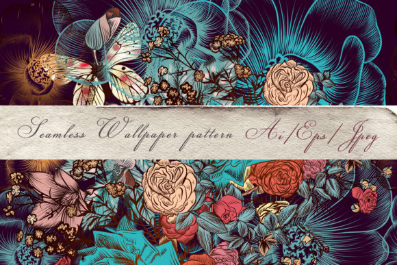 Pattern Drawn Flowers Vintage Vector Graphic By fleurartmariia