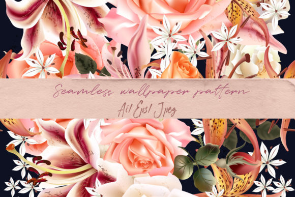 Floral Pattern Roses and Lily Vector Graphic Patterns By fleurartmariia