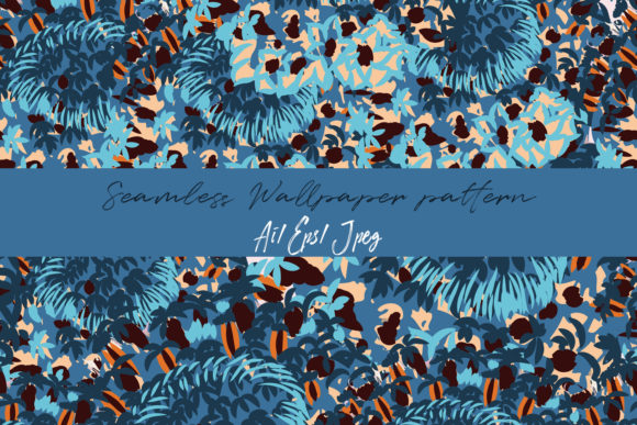 Abstract Floral Pattern in Blue Color Graphic Patterns By fleurartmariia