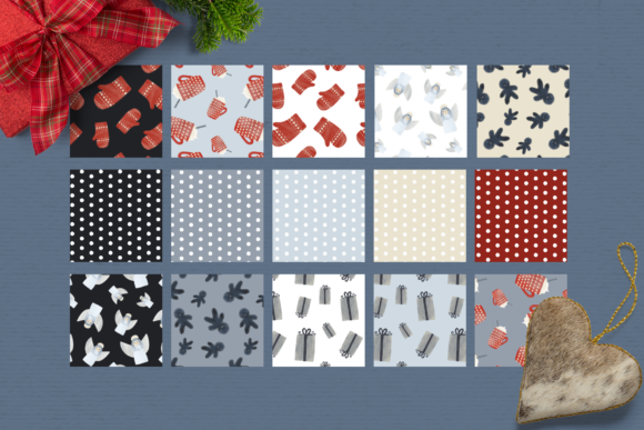 Print on Demand: Nordic Nights Christmas Patterns Graphic Patterns By Wallifyer - Image 2