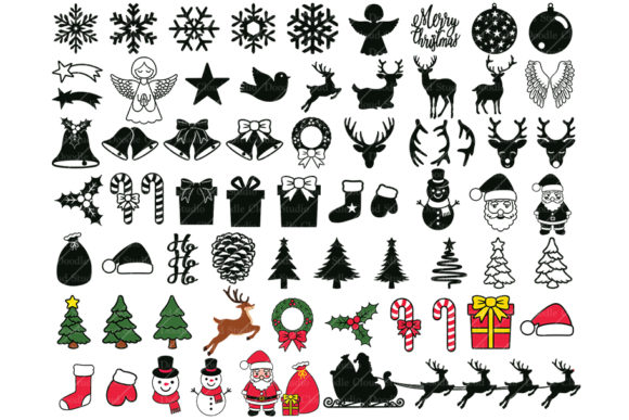 65 Christmas Ornaments Elements Graphic By Doodle Cloud Studio