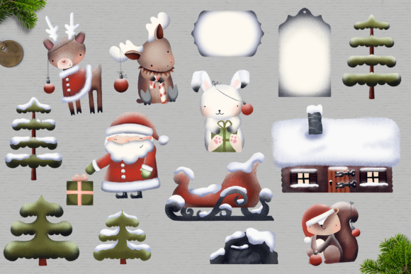 Print on Demand: Santa's Friends Christmas Clipart Graphic Illustrations By Wallifyer - Image 2