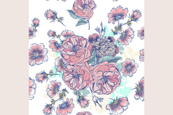 Vector Pattern Drawn Roses and Cosmos Graphic Patterns By fleurartmariia - Image 2