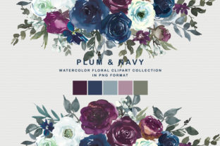 Plum & Navy Floral Clipart Graphic Illustrations By Patishop Art