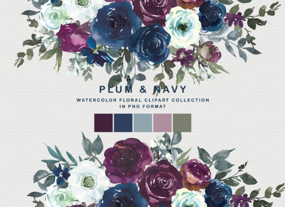 Plum & Navy Floral Clipart PNG Collectio Graphic By Patishop Art
