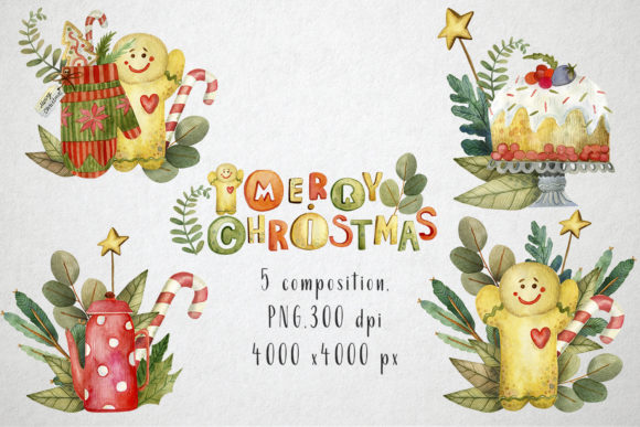 Print on Demand: Sweet Christmas Watercolor Set Graphic Illustrations By By Anna Sokol - Image 3