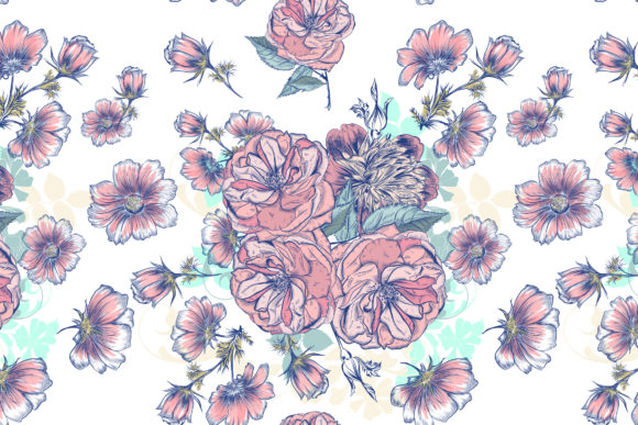 Vector Pattern Drawn Roses and Cosmos Graphic Patterns By fleurartmariia - Image 3