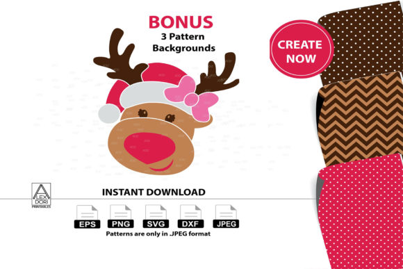 Print on Demand: Girl Reindeer Clipart Graphic Illustrations By adlydigital - Image 1