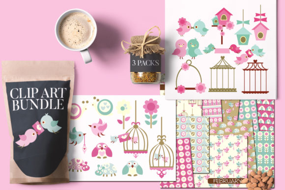 Print on Demand: Valentine Love Birds Bundle Graphic Illustrations By Revidevi
