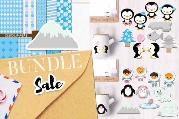 Print on Demand: Winter Penguins Bundle Graphic Illustrations By Revidevi