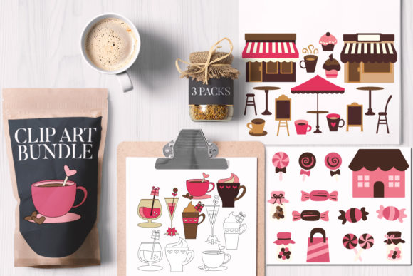 Print on Demand: Valentine Cafe Bundle Graphic Illustrations By Revidevi
