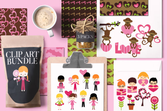 Print on Demand: Valentine Clip Art Bundle Graphic Illustrations By Revidevi