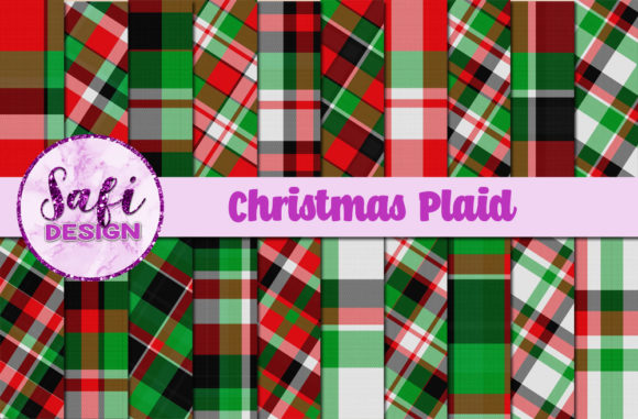 Print on Demand: Christmas Plaid Backgrounds Graphic Backgrounds By Safi Designs - Image 1
