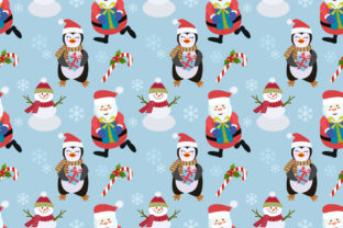 Download Free Penguin Snowman Santa Pattern Graphic By Ranger262 Creative for Cricut Explore, Silhouette and other cutting machines.